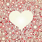 Coeur rétro de vecteur de cercles de couleur — Vecteur