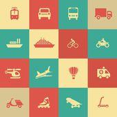 Retro transportation icons design elements — Stock Vector