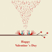 Happy Valentines Day. Two birds flirting and singing on branch. — Vector de stock