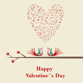 Happy Valentines Day. Two birds flirting and singing on branch. — Stockvector