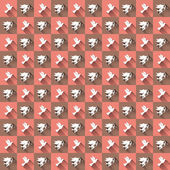 Seamless retro pattern. Texture with amore and birds. — Stockvector