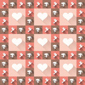Seamless retro pattern. Texture with amore and birds. — Stockvektor