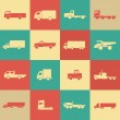 Stock Vector: Retro transport truck icons