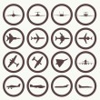 Big collection of different airplane icons. — Stock Vector #46121991