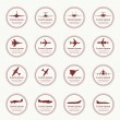 Big collection of different airplane icons. — Stock Vector #46122013