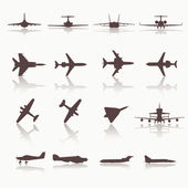 Big collection of different airplane icons. — Stock Vector