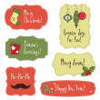 Christmas vintage labels with decoration — Stock Vector