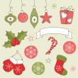 Vintage winter holidays doodles: Christmas and New Year — Imagen vectorial