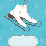 Retro Christmas card with ice skates — Stock Vector