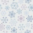 Seamless vintage pattern with abstract snowflakes — Stock Vector