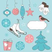 Winter holidays doodles — Stock Vector