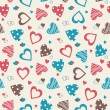 Retro valentine seamless pattern with hearts — Imagen vectorial