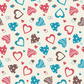 Retro valentine seamless pattern with hearts — Stock Vector