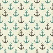 Seamless vintage pattern with anchor — Stock Vector