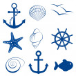 Sea icon set — Stok Vektör