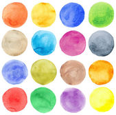 Watercolor hand painted circles set — Stock Photo