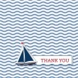 Thank you card with boat — 图库矢量图片