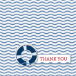 Thank you card with lifebuoy — Stock Vector