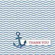 Thank you card with anchor — Stock Vector