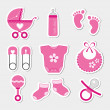 Baby girl icons — Stock Vector