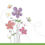 Spring flower background with butterflies — Stock Vector