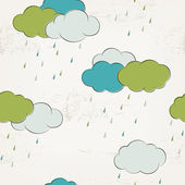 Retro rainy clouds, seamless pattern — ストックベクタ
