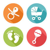 Baby icons, flat design — Stock Vector