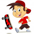 Cute cheerful boy playing with his skate — Stock Vector
