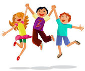 Happy jumping kids holding hands — Stock Vector
