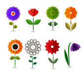 Vector colorful flowers icon set isolated on white  — Stock Vector