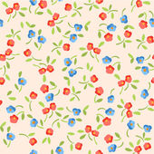 Vector beautiful seamless pattern with red and blue flowers — Stock Vector