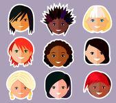 Vector set of women's faces — Stock Vector