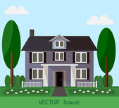 Landscape with beautiful house — Stock Vector