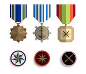 Flat medals icons — Stock Vector