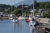 Boat in the Neptune's Staircase lock on the Caledonian Canal — Stock Photo