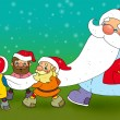 Joke. Santa Claus on walk. — 图库照片