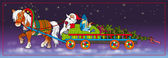 Father Frost and the Snow Maiden carry a fur-tree and gifts for a holiday — ストック写真