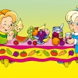 Boy and girl feasting at the table  — Stock Photo