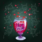 Love elixir. devil, deuce in a glass of wine — Stock Photo