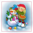 Little Elf sculpts snowman — Stock Photo