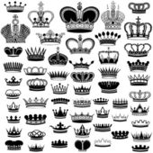 Big silhouette crown set — Stock Vector