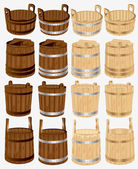 Barrel bucket pail tub wood — Stock Vector