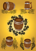 Beer wine barrel collection — Stock Vector