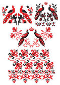 Ukrainian embroider birds — Stock Vector