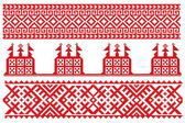 Russian embroidery with church — Stock Vector