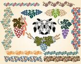 Big grape art nouveau collection — Stock Vector