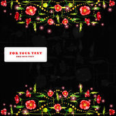 Black poppy background glossy color banner — 图库矢量图片