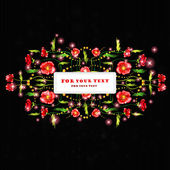 Black poppy background banner — ストックベクタ