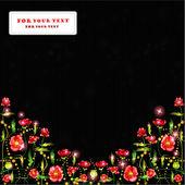 Black poppy background glossy banner — ストックベクタ