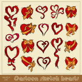 Sketch cartoon heart icon — Stock Vector